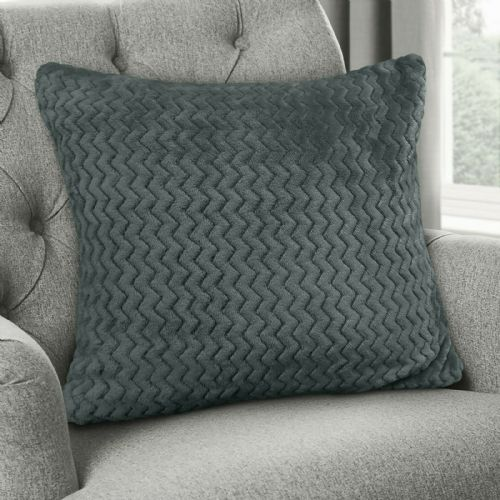Large Luxury Chevron Zig Zag Super Soft Velvet Plush Scatter Cushion Plain Charcoal 56cm x 56cm
